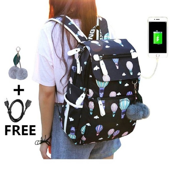 New middle school backpack with USB charging port school bags for girls travel bag bookbag plusch ball big girl schoolbag #110876