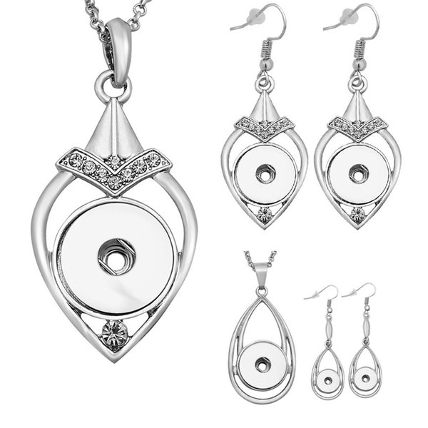 Noosa Silver plated crystal water drop ginger snap button jewelry set 12mm snap button earrings &18mm snap button necklace jewelry sets