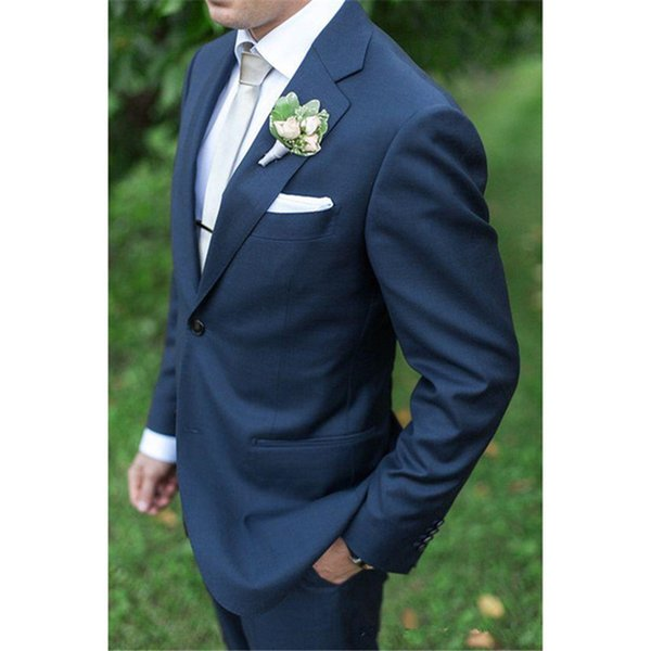 New Sale Real Flat Cotton Smoking Custom Made Navy Groom Tuxedos Mens Suits For Wedding Trim Fit Tuxedo (jacket+pants)