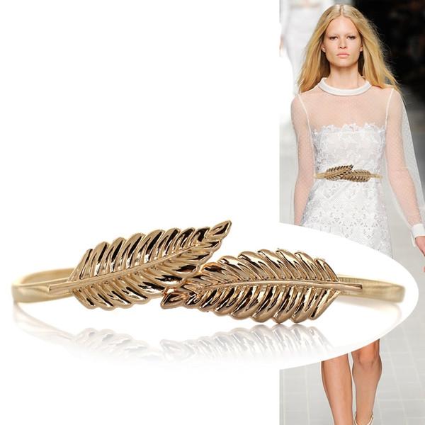 Mujeres calientes Cinturón Diseño de la hoja Corchete Estiramiento Delantero Aleación Metal Cinturón Flaco Elástico Hojas Vestido Cummerbund Oro Plata Cintura