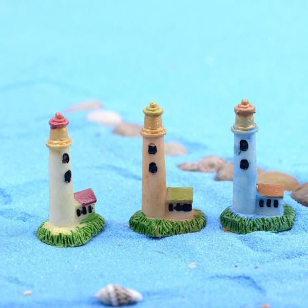 Zakka Yapay Mini Lighthouse Beacon Mikro Peyzaj Dekorasyon Small World Plastik Craft DIY Aksesuarları