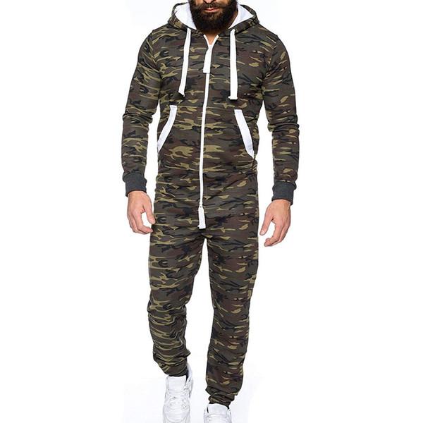 para una Playsuit Collar Pijama pie de Unisex Camuflaje Con pieza hombre Prenda Mono sin capucha 35AR4Lj