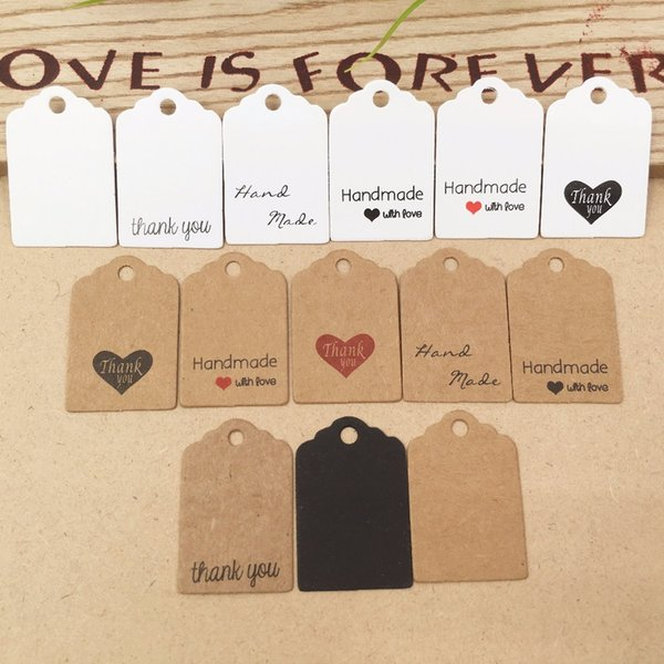 2019 100pcs Kraft paper hand made tag with love for DIY Gift box tag candy cupcake thank you tags/handmade favors name brand tag