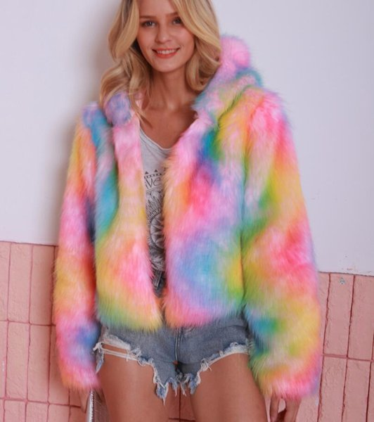 fashion iridescent imitation fur coat female 2019 autumn and winter new hooded long-sleeved short faux fur overcoat outdoor coat