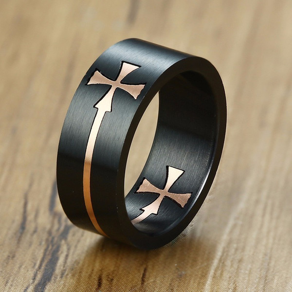 Mens Removable Knights Templar Cross Cut Finge Ring in Two Tone Stainless Steel Wedding Band Tail Thumb Rings Male Jewelry