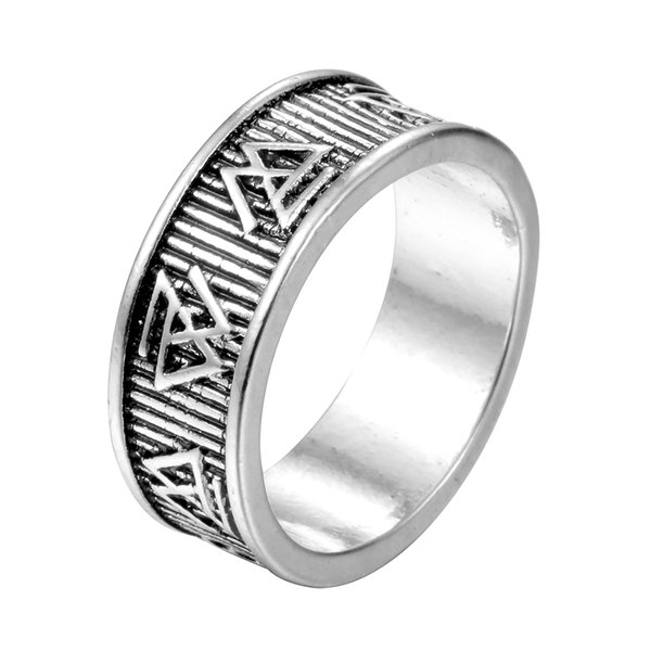 Vintage Viking Style Silver Plated Ring Nordic Odin Symbol Valknut Rune Pagan Amulet Ring For Men Oval Engagement Rings Diamond Wedding Bands From