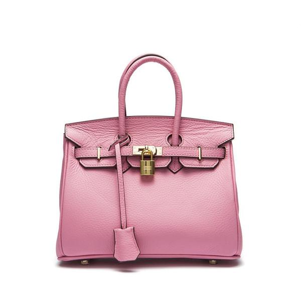 2018 new black pink fashion top full leather shoulder bag handbag tote girl woman