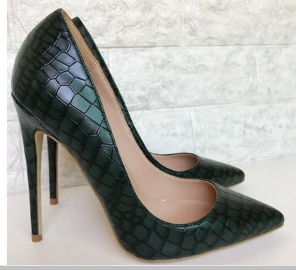 19 Blackish green Women's Red Bottom Cusp Fine heel high-heeled shoes 8cm 12cm 10cm Large size 44 Shallow mouth banquet wedding Single shoes