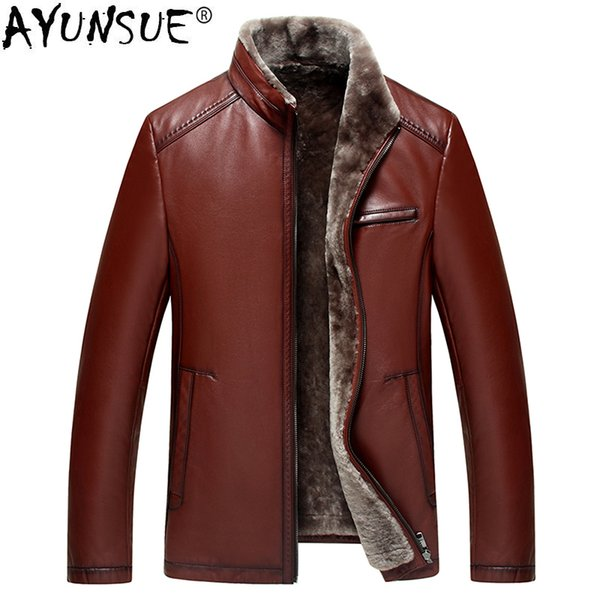 AYUNSUE Genuine Leather Cow Jacket Men Winter Real Fur Coat Plus Size Shearling Wool Coats Chaqueta Cuero Hombre KJ1636
