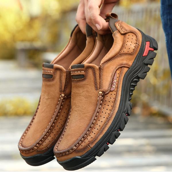 QWEDF Zapatos de cuero genuino de los hombres de cuero de vaca zapatos casuales masculinos hombres de alta calidad al aire libre pisos caminando con cordones hombre calzado D8-49
