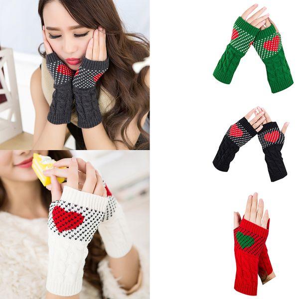 1 Pair Christmas Heart Typing Gloves Women Girls Arm Wrist Warmer Sleeves Winter Autumn Mittens