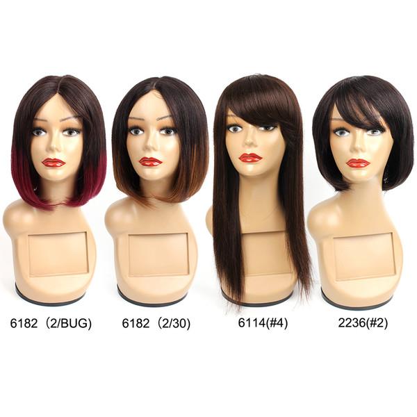 монолитным волосы Дешевые Боб парик парики человека Коричневый Каштановый Бордовый Цвет машины сделанный парик индийский бразильский волос Remy