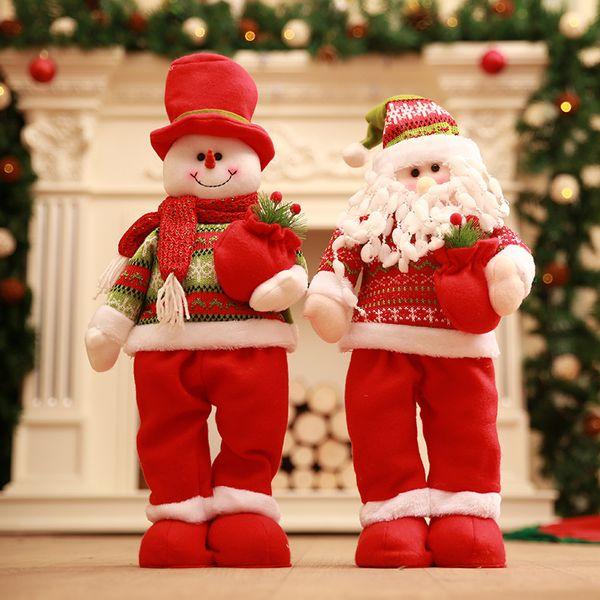 1pcs Natal Papai Noel / Snowman Dolls em pé segurando um saco do presente da árvore de Natal Ornaments Crianças Presentes Toy