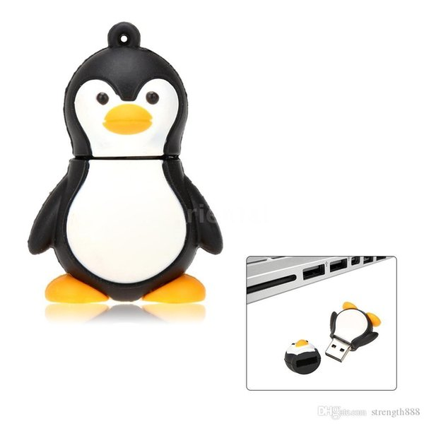 Real Capacity Hot Fashion Penguin USB Flash Drive Cartoon Pen Drive 16GB~128GB USB Stick
