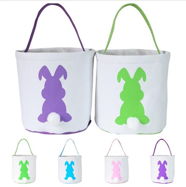 Холст кролик Easter Basket DIY Сумка хранение Бання ковшовый Симпатичный Burlap Пасхальных подарки Handbags Rabbit Ears Положить пасхальные яйца корзины B1151