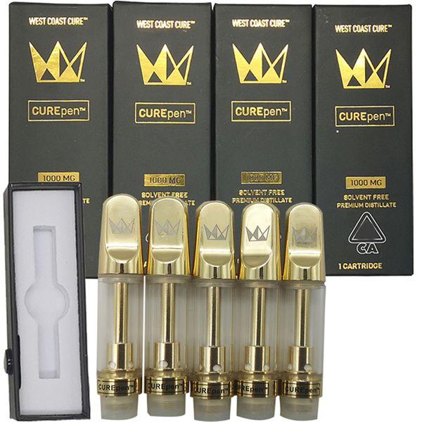 best selling West Coast Cure Pen Vape Cartridge Packaging Empty Vape Pen 510 Ceramic Cartridge E Cigarettes Vape Carts 0.8ML 10ML Oil Atomizer Vaporizer