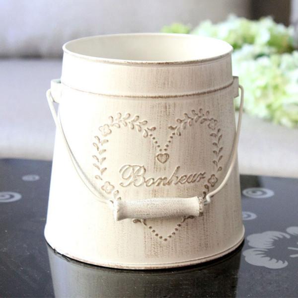 Estilo pastoral de la vendimia Jarrones de metal Artificial macetas artesanía para el almacenamiento Decoración del hogar decoración del jardín