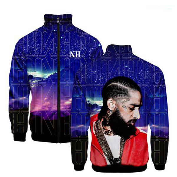 2019 New Fashion Rapper Nipsey Hussle Zipper Stand Collar Hoodies Men/Women Casual Cool Autumn Capless street Sweatshirt clothing