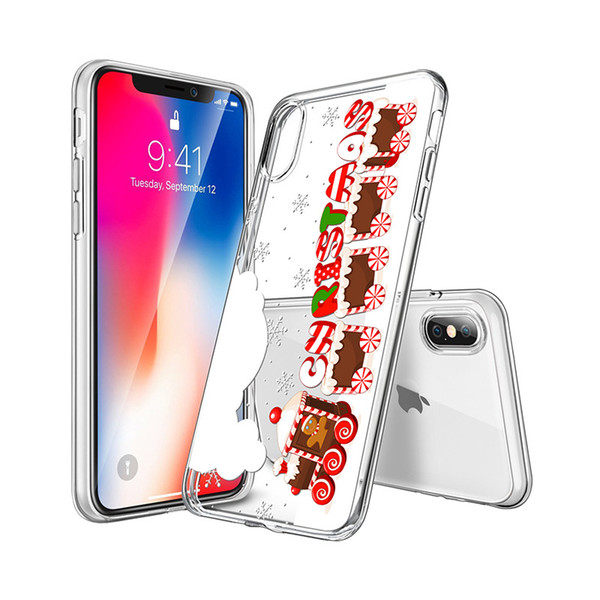 New Christmas gift iphone XR MAX X case painting Christmas custom pattern samsung s9 s9plus note8 note9 Transparent tpu protective case