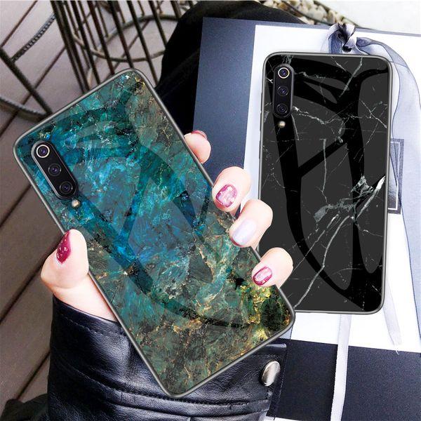 Haissky marmor gehärtetes glas telefon case für xiaomi 9 9se 8 lite 5x 6x redmi s2 note4 5 6 note 7 schutzhülle