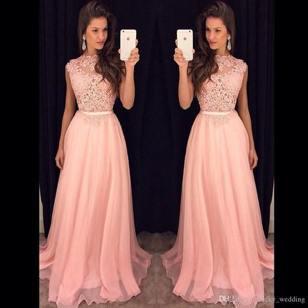 2018 Fancy New Pink Chiffon Long Bridesmaid Dress Robes de Soirée Illusion Lace Top Chiffon Floor Length Evening Party Dresses with Belt
