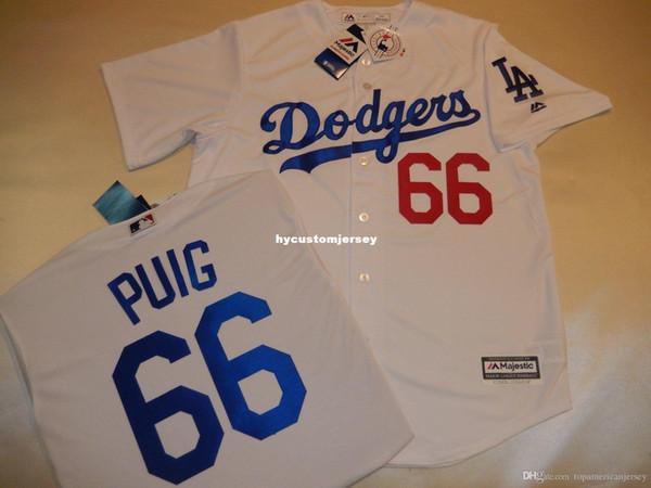 Дешевые обычай Majestic Mens Los Angeles # 66 YASIEL PUIG Бейсбол Джерси Новый белый мужские сшитые майки большой и высокий размер XS-6XL на продажу