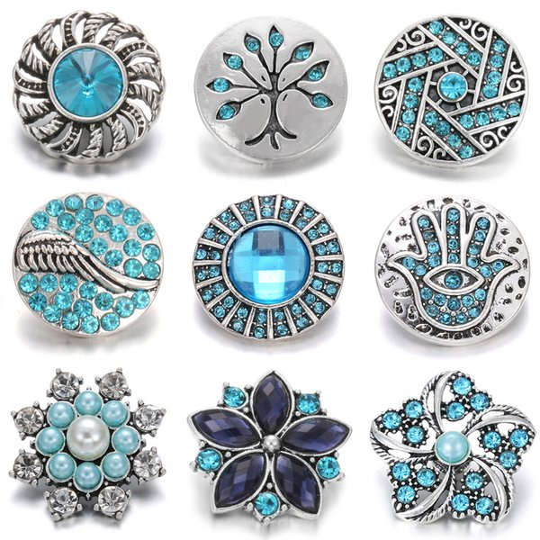 Noosa New Metal Snap Jewelry 18mm Charm Rhinestone Flower Snap Button Fit Snap Bracelet Necklace for Women Chunk Jewelry