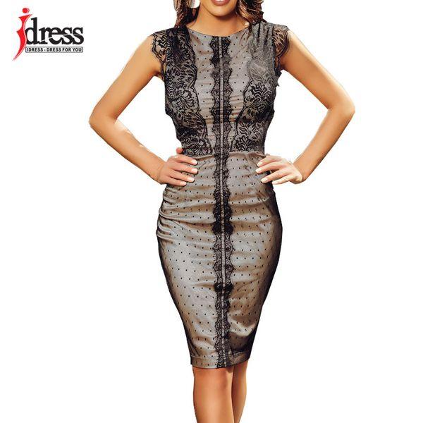 Idress 2019 New Sexy Women Dress Elegant Knee Length Bodycon Midi Dress Sleeveless Party Night Cheap Clothes China Ladies Dress J190429