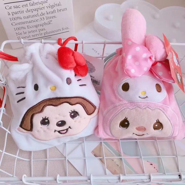 Kawaii Cartoon 3D Embroidery My Melody Kitty Drawstring Bag Soft Plush Coin Bags Handbag Organizer For Kid Christmas Gifts
