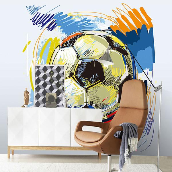 Arkadi Modern Fashion Hand-painted Graffiti Football Wallpaper Custom Mural Non-woven Interior Wall Decoration Art Wall Painting Soccer