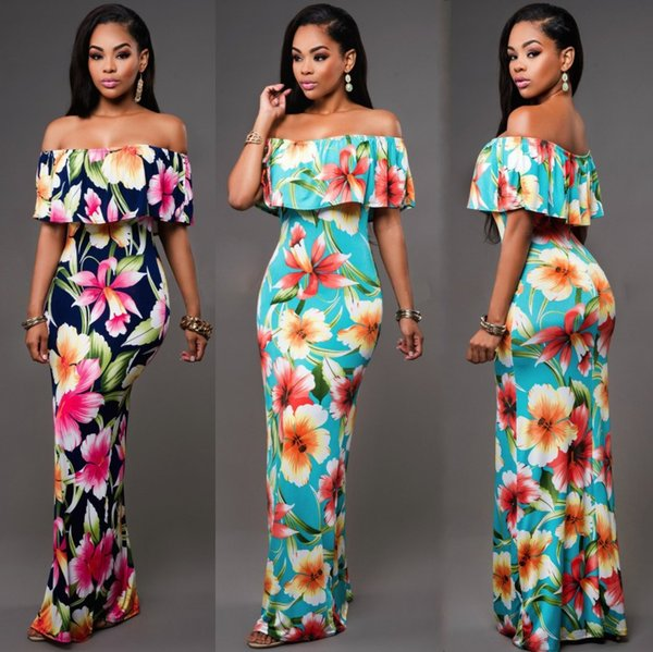 2019 Cheap Summer Maxi Floral Printed Dresses Women Long Dresses 2017 Off the Shoulder Beach Dresses Sheath Bodycon Floor-Length Holiday