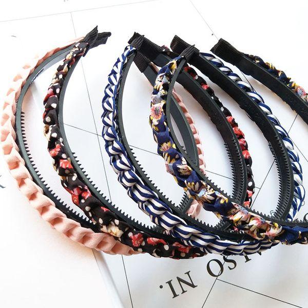 Chaude haute qualité coréenne solide bandeau en tissu avec des dents filles enfants bande de cheveux pour les femmes Accessoires de cheveux