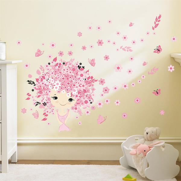 Großhandel Blume Blume Fee Rosa Niedlichen Baby Meerjungfrau Schmetterling  Wohnkultur Wandaufkleber Für Mädchen Baby Kinderzimmer Wand Kunst Diy ...