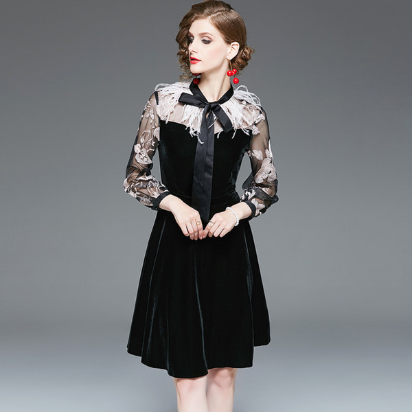 Women's Runway Dresses O Neck Long Sleeves Embroidery Bow Detailing Feather Tassels Fashion Casual Velvet Dresses