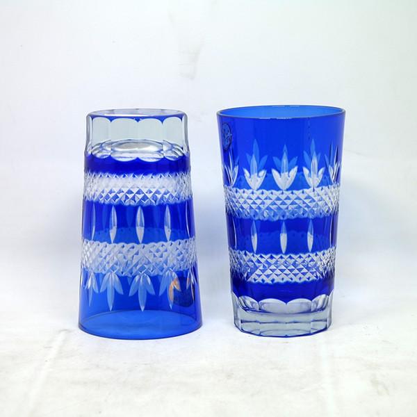 Satsuma japonesa kiriko vidro de copo de uísque azul Edo kiriko causa de copo de água cortado para Limpar copo de água