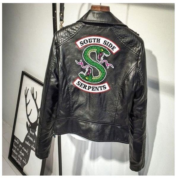 YENI Riverdale Baskı Logosu Southside Yılanlar Pembe / Siyah PU Deri Kadın ceketler riverdale Yılanlar Streetwear Deri giyim