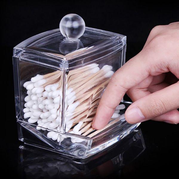 Storage Box Holder Makeup Organizer Portable Cotton Pads Container Acrylic Transparent Box Cotton Swabs Stick