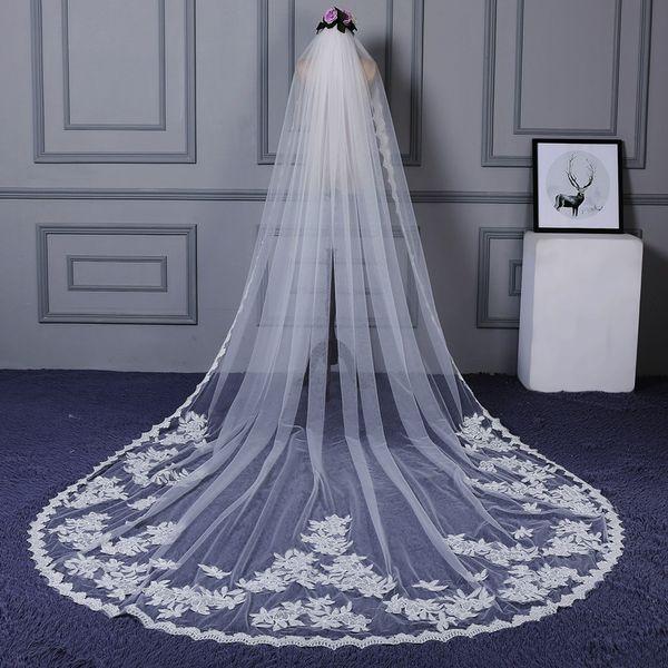 Свадебная фата собор длина 2019 кружева аппликация один слой на заказ белая фата из слоновой кости с расческой невесты свадебные аксессуары