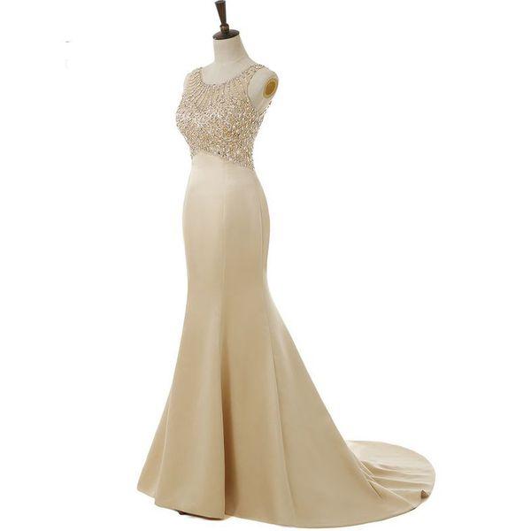 Beaded Satin Mermaid Evening Dresses 2019 Long Sleeveless Formal Evening Gown Abiye Elbise Floor-Length Prom Dresses Champagne Green Pink