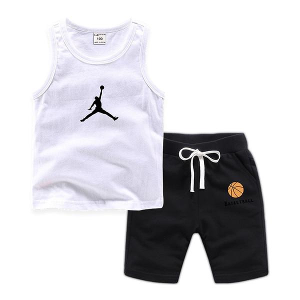2019 Verão Meninos Colete Conjunto de Roupas de Menina Conjuntos das Crianças Camisola Sem Mangas Terno Do Bebê Shorts Vestuário 11 Cor