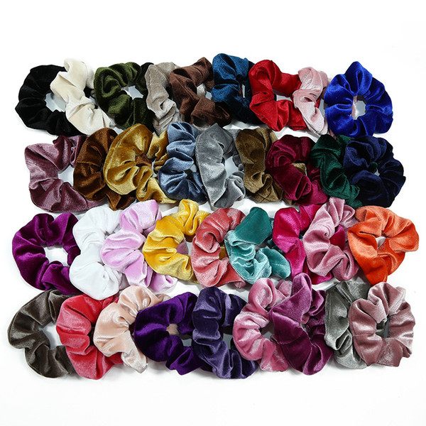 top popular 20 Pcs Ponytail Holder Hair Scrunchies Velvet Elastic Hair Bands Scrunchy Hair Ties Ropes Scrunchie for Women or Girls 50 colors 2019