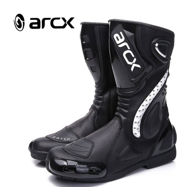 ARCX Men's Cowhide Leather High Fiber Pro Sport Bike Racing Motocross Motorcycle Boots L60150
