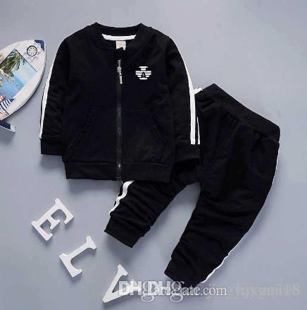 2018 marca AMN neonati maschi e femmine tute bambini tute bambini cappotto pantaloni 2 pezzi / set abbigliamento per bambini vendita calda nuova moda primavera estate