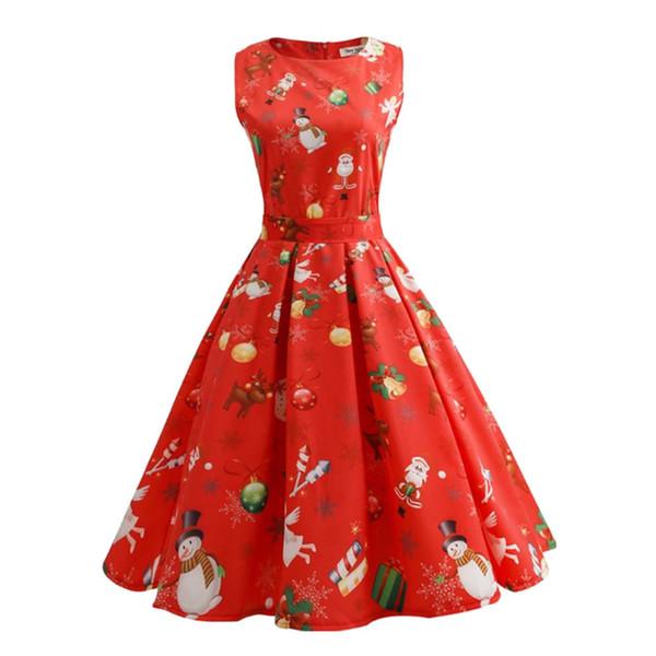 Vintage Dresses Women Casual Elegant Red Christmas Dress Plus Size Retro Hepburn Sleeveless Swing Xmas Party Dress 85JK