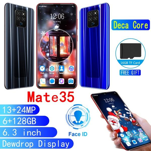 best selling New Mate35 6.3 Inch Face Recognition Unlock HD Water Drop Screen Smartphone 6G + 128G Large Capacity Memory Support Dual Card Dual Standby