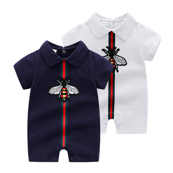 2019 Summer New Style Short Sleeved Girls Dress Baby Romper Cotton Newborn Body Suit Baby Pajama Boys Lapel Solid Color Rompers