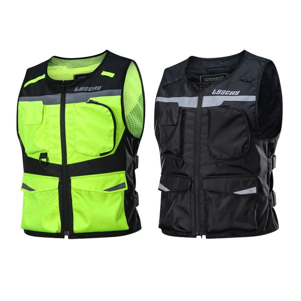 LYSCHY Reflective Waistcoat Clothing Waterproof Motocross Off-Road Racing Vest Motorcycle Touring Night Road Riding Jacket Veste Moto