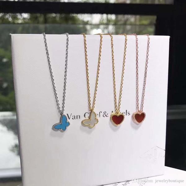 S925 Sterling Silver Collane gioielli farfalla e cuore collana con VCA logo del marchio collana regalo della signora di Natale nella PS5 oro reale placcato