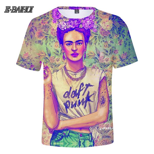 E-BAIHUI 3D Frida Kahlo Anime Cartoon T Shirt Women Men Friends Vogue Fashion Streetwear Tee Harajuku Kawaii Tops 1022