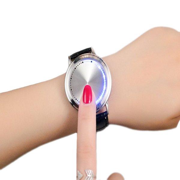 Gerryda creativo minimalista in pelle impermeabile touch screen LED digitale orologio da uomo amanti delle donne Guarda orologi intelligenti di elettronica